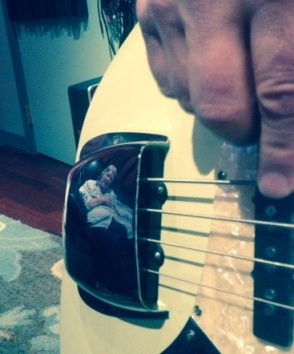 There I am reflected in David Wilson's guitar.